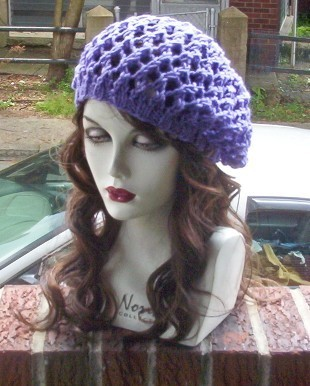 Hand Knit Summer Slouchy Fishnet Ladies Beret - Purple
