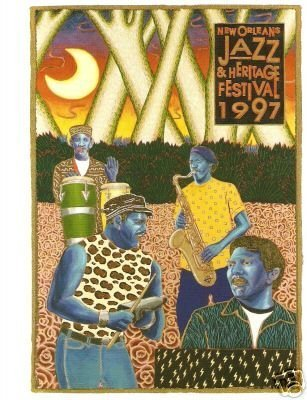 1997 New Orleans Jazz Festival Poster Post Card Neville