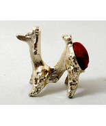 Metal Poodle Pincushion with red velvet vintage - $15.00