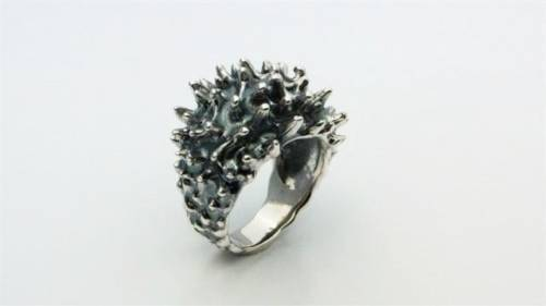 Summer Unique Sea anemone Ring Coral Silver 925