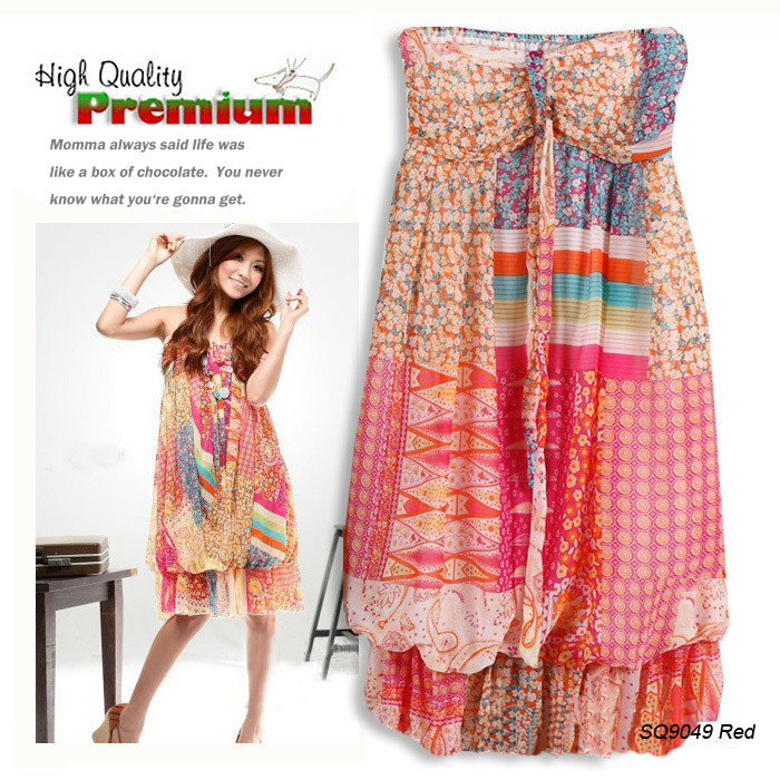 Flower Print Chiffon Bandeau Flounced Halter Long Dress