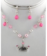 Kids' Princess Crown Charm Necklace earring set... - $11.87