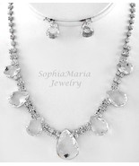 Stunning clear crystals tear drop necklace set ... - $21.77