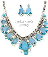 Stunning evening formal blue necklace set brida... - $24.74