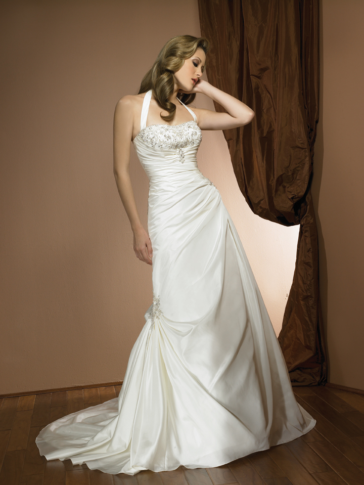 AC2303  A-line Satin Wedding Gown with Halter Neckline