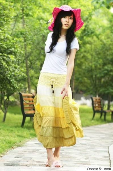 Bohemian Cotton Gradient Yellow Tier Dress Long Skirt