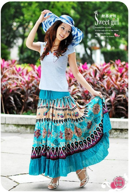 Flower Print Halter Strapless Cotton Bohemian Dress Skirt