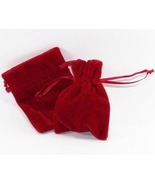 10 Jewelry Pouches Gift Bags Velvet Red 3 X 4 D... - $14.99