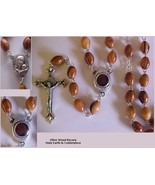 Rosary with HOLY EARTH CENTERPIECE Olive Wood M... - $18.99