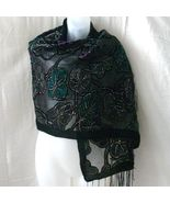New black, purple and green rayon velvet fringe... - $15.00