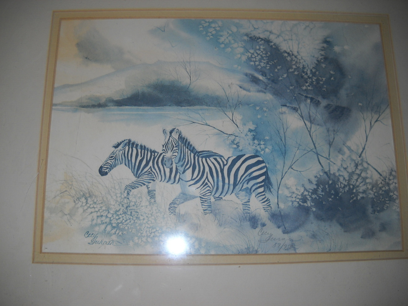 "Artist Cecy Turner Watercolor ""Out of the Brush - Zebras"" Si"
