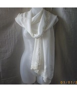 New long cream rayon scarf with lace, embroider... - $20.00