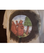 The Far Side White Tee Shirt Bear Hunter Gary Larsen Gildan Large looks unworn  - $13.99