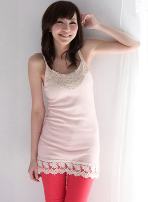 Pink Thread Cotton Lace Trim Tunic T-Shirt