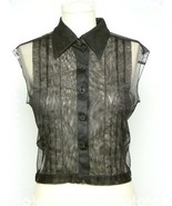 SOLD ~~ CHANEL Black Pleated Tulle Blouse - €230,96 EUR