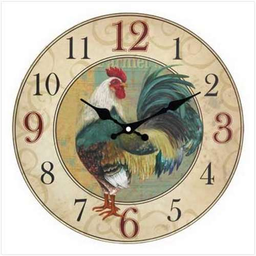 13774 Country Rooster Wall Clock~FS