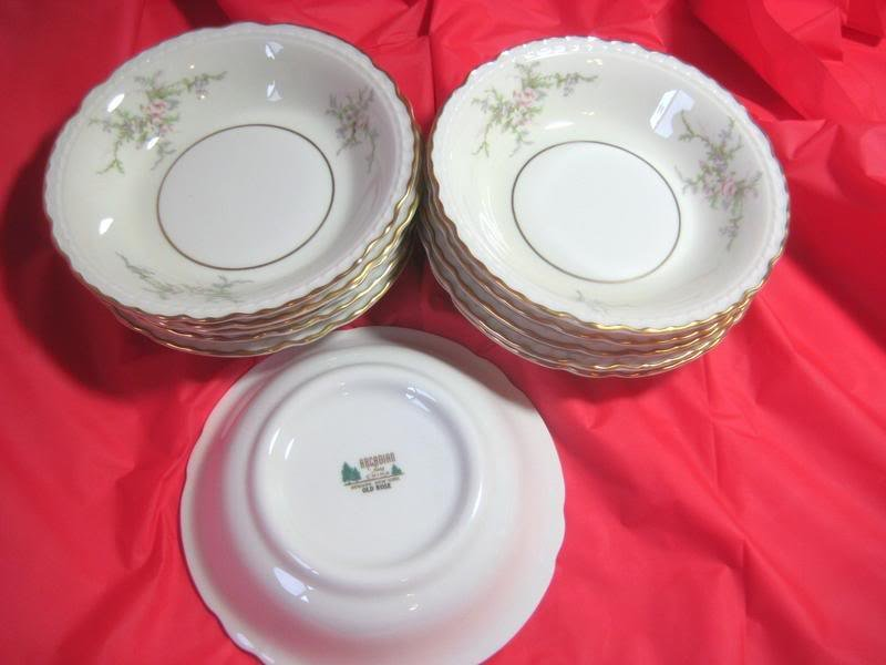 11 pcs Fruit Sauce Bowls Plates Arcadian NY Old Rose