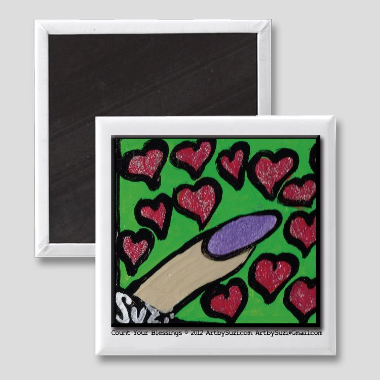 "Count Your Blessings Magnet - (2"" x 2"") Original Art by Suzi"