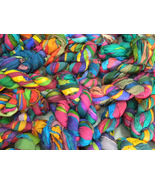 Recycled sari silk ribbon yarn craft works 30 s... - $95.39
