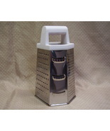 Kitchen grater - 6 sided/6 choices-stainless steel-free standing/plastic handle