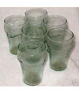 Six Coca Cola Juice Glasses green  - $29.09