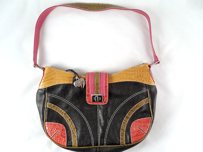 Vintage SHARIF Color Block Leather Handbag SAMPLE