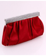 F7147-RED Red Evening Bag with Rhinestone Trim - $25.00