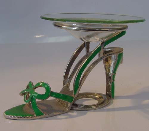 Green Bow Tie Sandle Pewter High Heel Shoe Tea Light