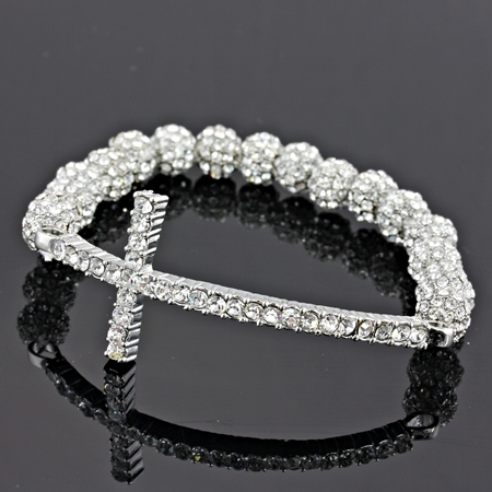 7mm Silver Clear Crystal Pave Disco Ball Bead w/Cross Stretch Bracelet