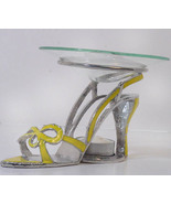 Yellow Bow Tie Sandal Pewter High Heel Shoe Tea... - $21.50