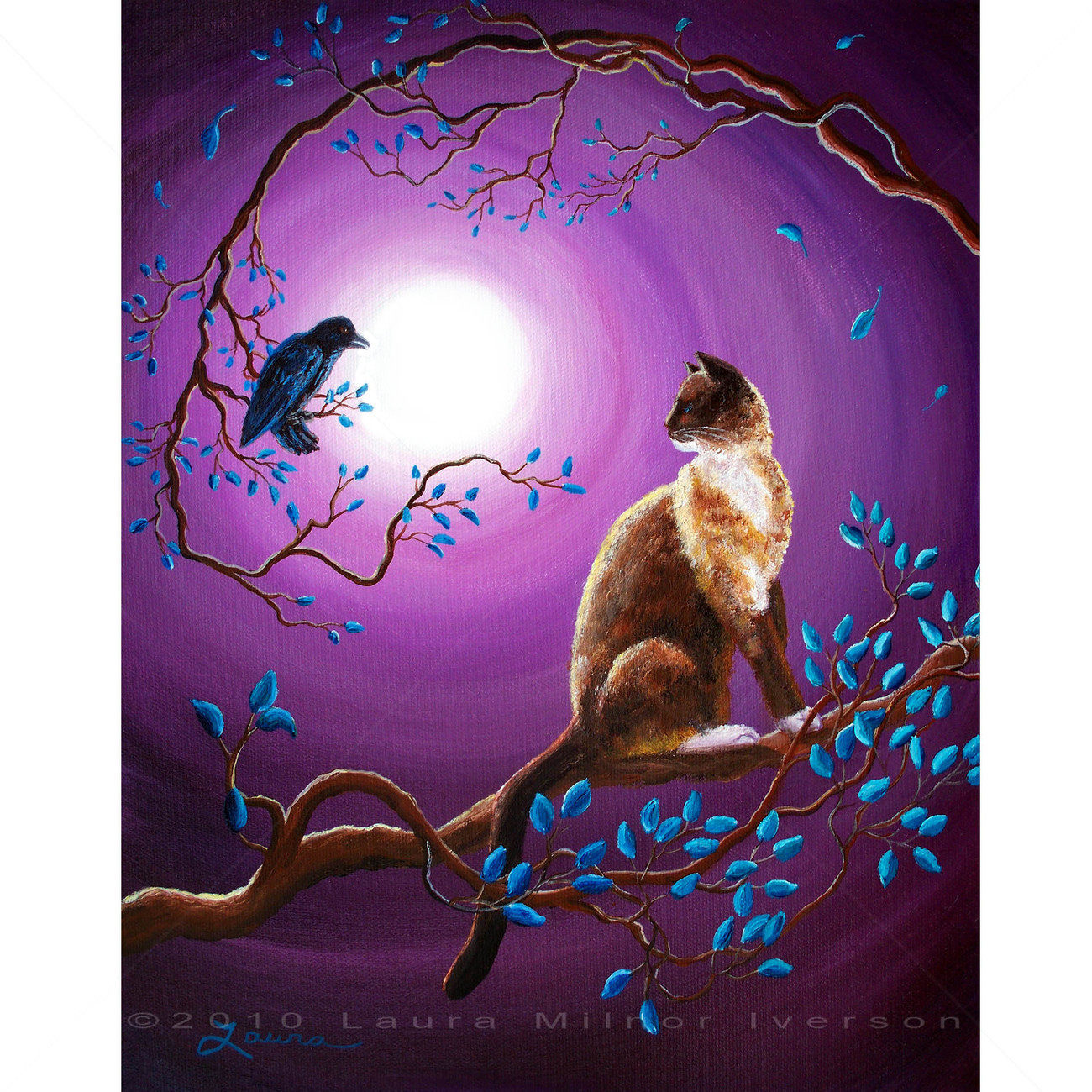 Siamese Snowshoe Cat Crow Raven Purple Moon Tree Branch Zen Original Painting