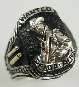 ~ ~ Bounty Hunter Ring WANTED DEAD or ALIVE,Steve Mc Queen tribute  ~~