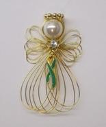 Green Awareness Ribbon Angel Ornament Goldtone ... - $8.00