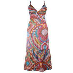 Maxi Dress Full Length Dress V Neck MultiColor Retro Design Sundress Sz Medium