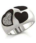 Premium Pave CZ and Black Epoxy Heart Rhodium P... - $29.99