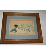 Vintage Picture Little Black Behind Babies Runn... - $25.00