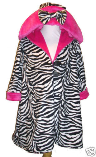 NWT Girl Boutique Zebra & Pink Minky Coat Hat 5 6 7
