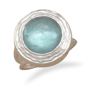 Ancient Roman Glass Ring, Sterling Silver