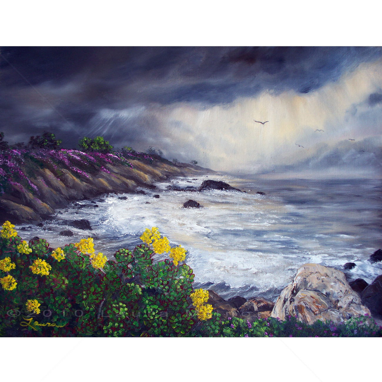Original Oil Painting Stormy Monterey Carmel Seascape Gray Yellow Flowers Ocean