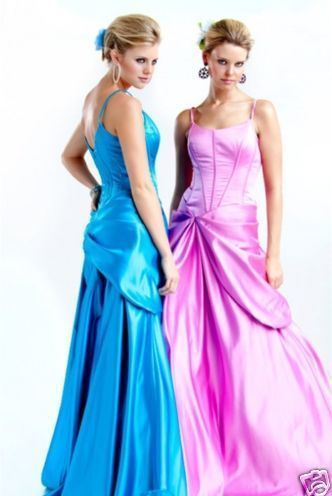 NWT Sexy Satin Jovani Prom Evening Gown Dress Blue Pink