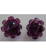 Earrings, Clip Back, Purple Beads - $10.00