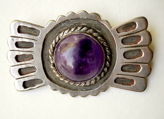 1930's Mexico Silver Brooch Pin with Large Amethyst