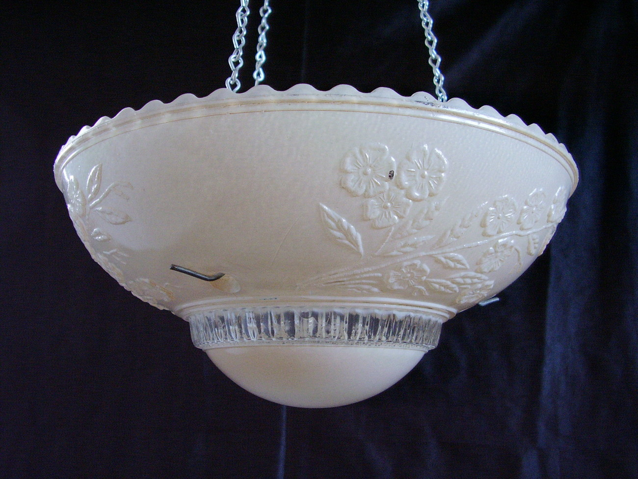 Hanging 3 Hole Lamp Shade Pastel Pink  Clear Glass