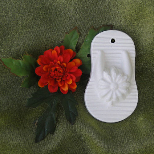 Unpainted Shoe Ornament-- Floral FlipFlops