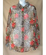 18 W Maggie Barnes Sheer Animal Floral Blouse S... - $12.99
