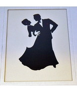 Black Tie Dancing Couple Silhouette Print Silve... - $5.00