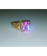 Pink Tourmaline Solitaire Ladies Fashion Ring Sz 7 - $25.00