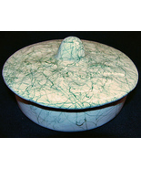 Vintage Green On White Splatter Round Candy Dis... - $9.99