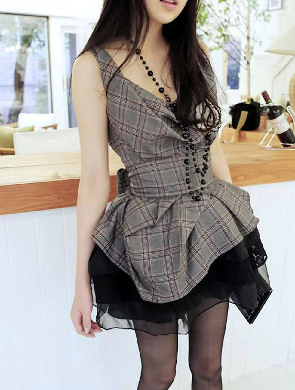Fashionista Glam. Summer Plaids Top With Black Tutu Lace Skirt Set. Party Dress