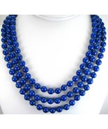 Midnight Blue Lapis 8mm Rounds 3 Strand Hand Kn... - $256.32